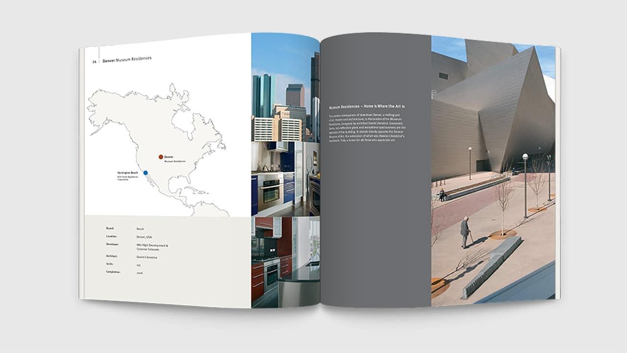 Referenz Printdesign München: Broschüre internationales Objektgeschäft Innenseiten