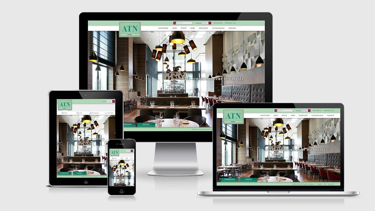 Webdesign Online Shop München: ATN Creative Cover Materials
