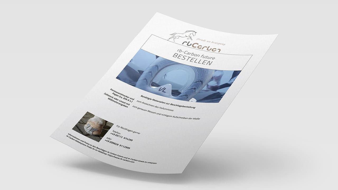 Bestellung für rbCarbon future, Printdesign München
