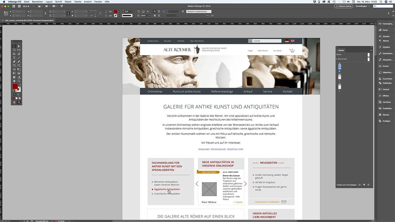 Layout Webdesign Online Shop München: Galerie Alte Römer