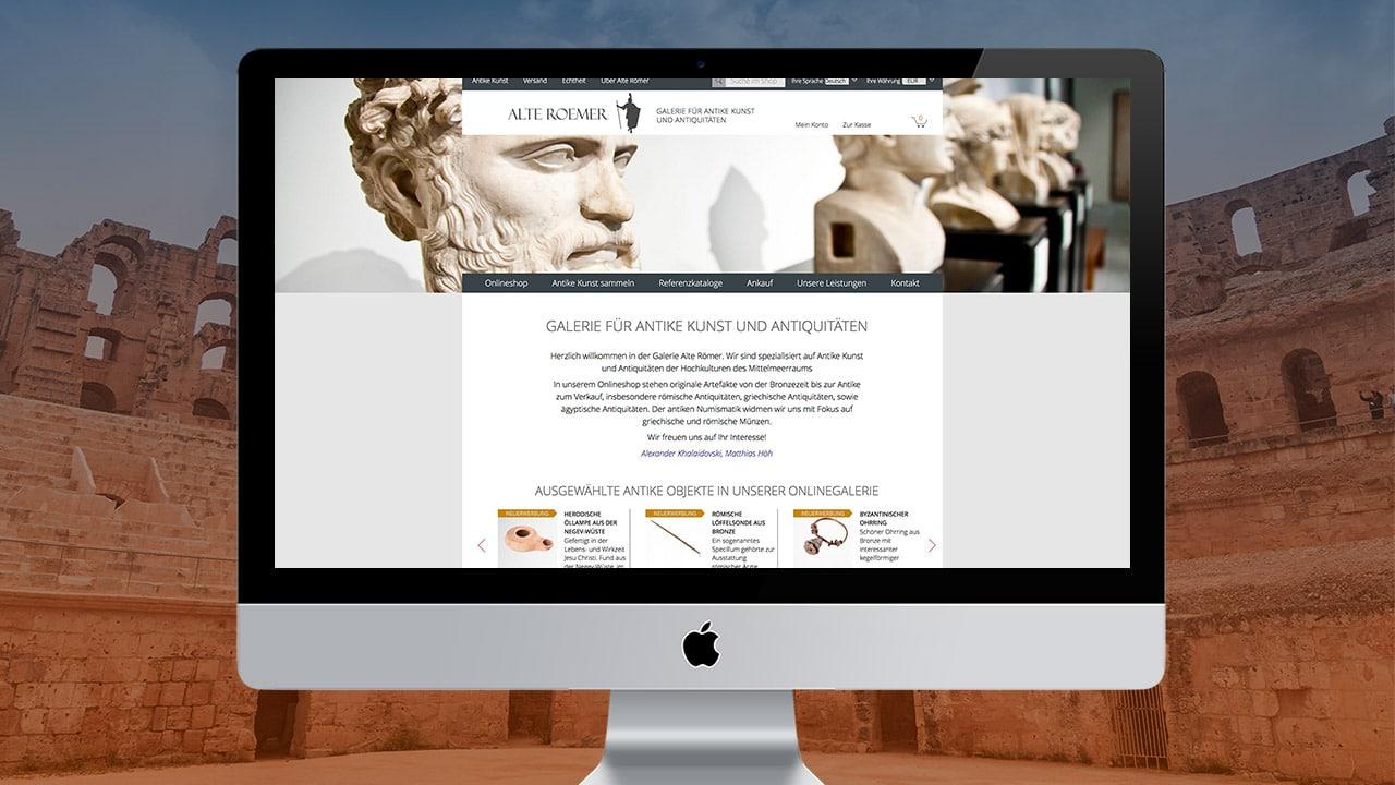 Referenz Webdesign Online Shop München: Galerie Alte Römer