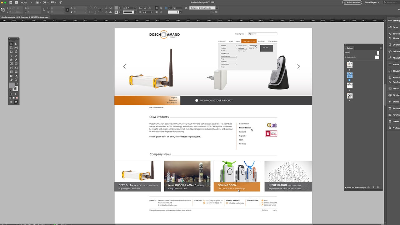 Website Gestaltung Layout Navigation Dosch & Amand Products, Webdesign München