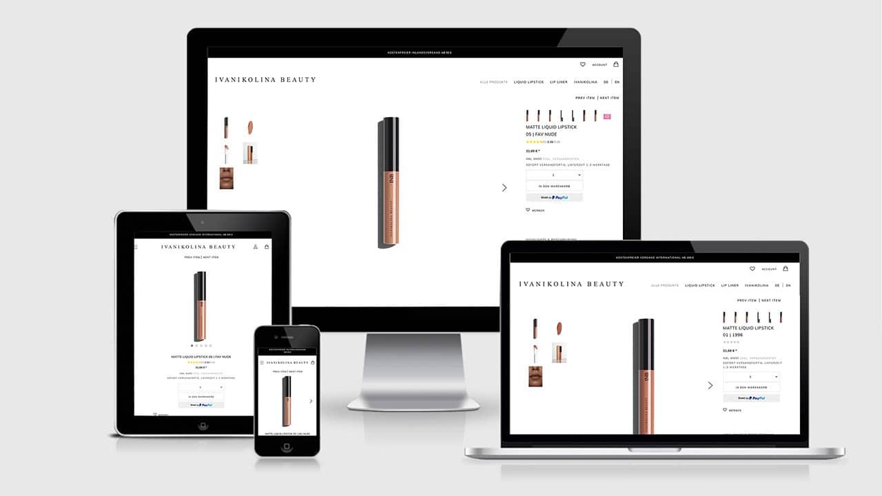 Referenz Webdesign Online Shop München: Webdesign Produkt Detailseite Ivanikolina Beauty