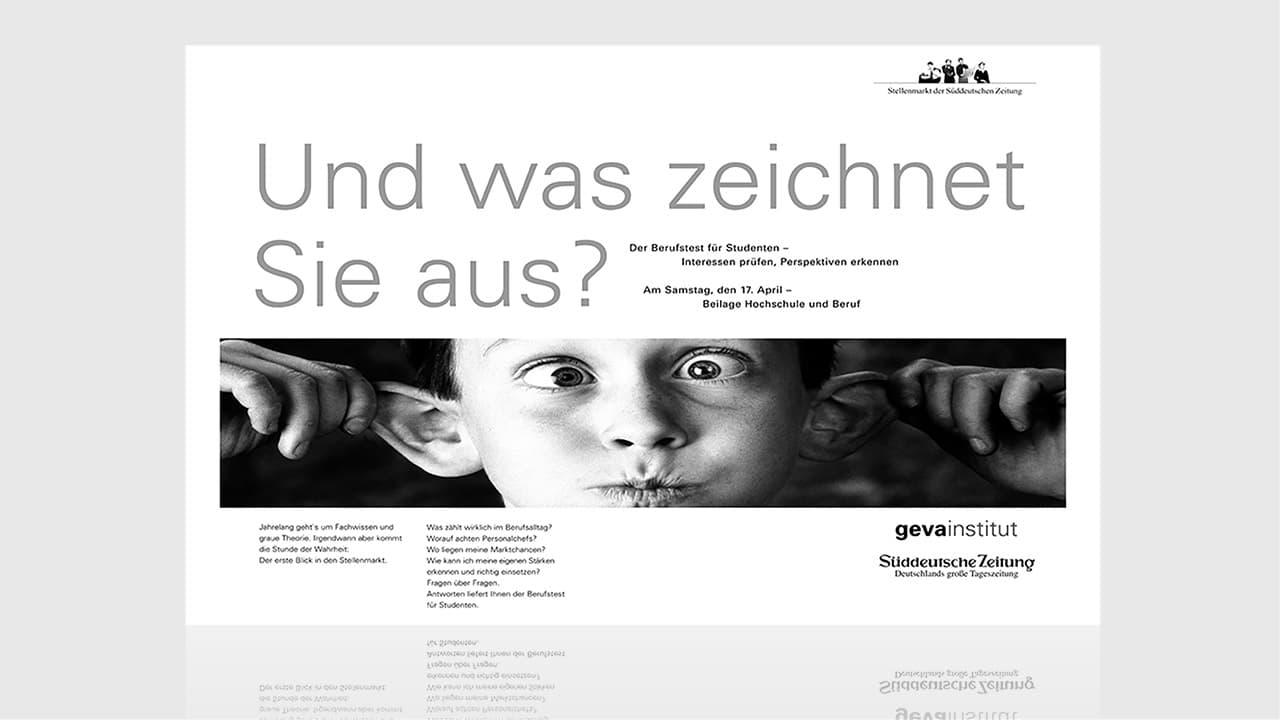 Kreative Anzeige in der SZ München