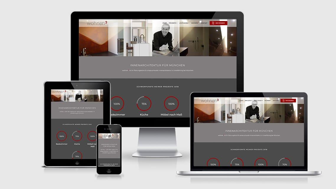 Referenz Webdesign München: Webdesign Seite Innenarchitektur wohnen3