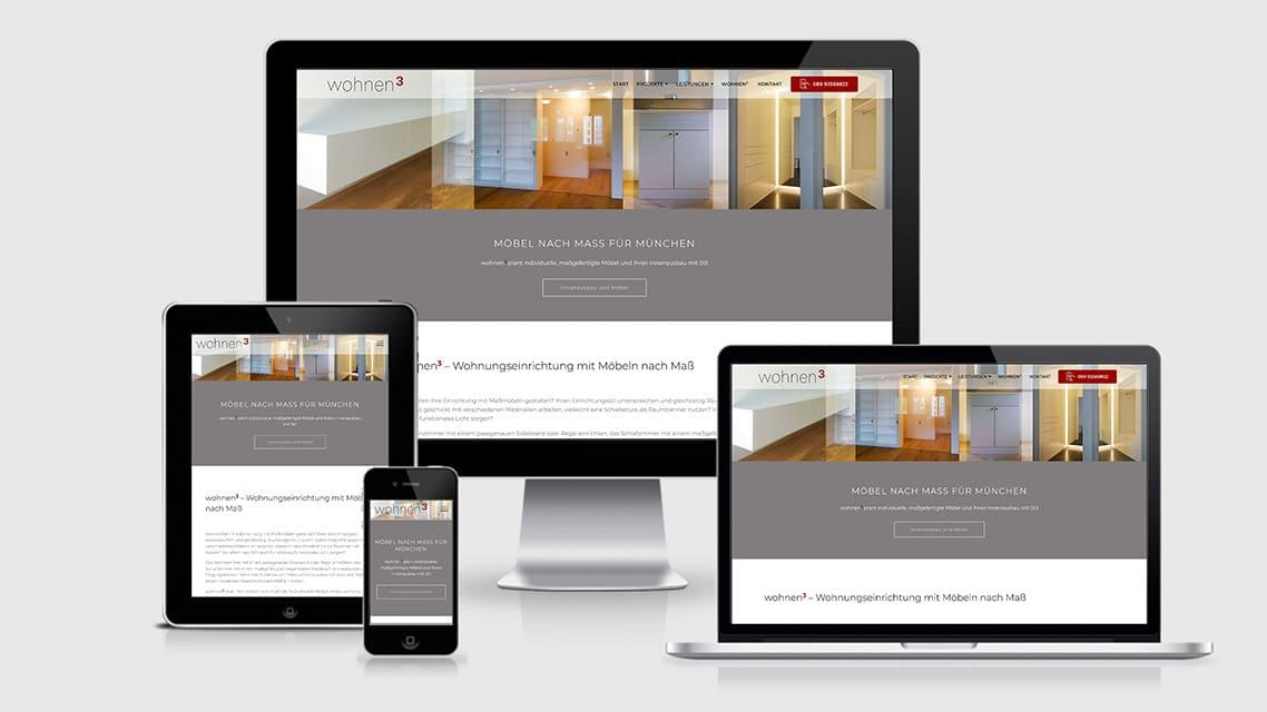 Referenz Webdesign München: Webdesign Seite Möbel nach Maß wohnen3