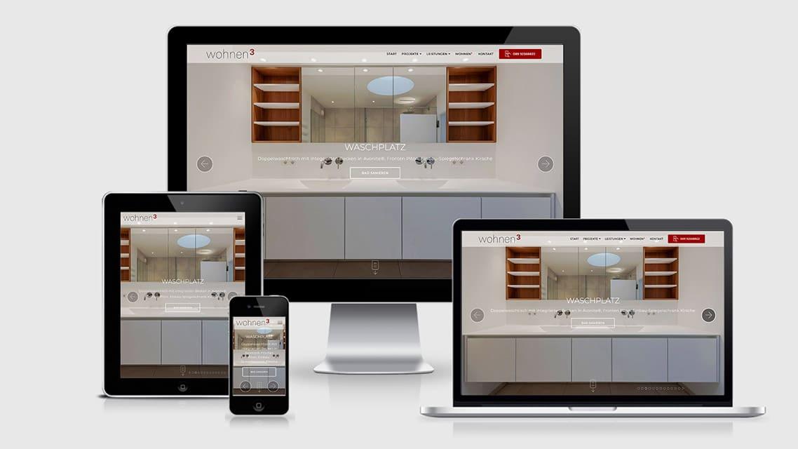 Referenz Webdesign München: Webdesign wohnen3 Kreative Innenarchitektur