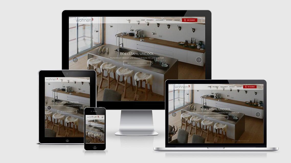 Referenz Webdesign HTML5 München: Webdesign wohnen3 Kreative Innenarchitektur