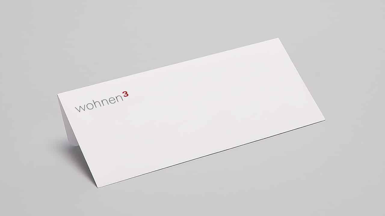 Corporate Design München: Lang DIN Karte wohnen3