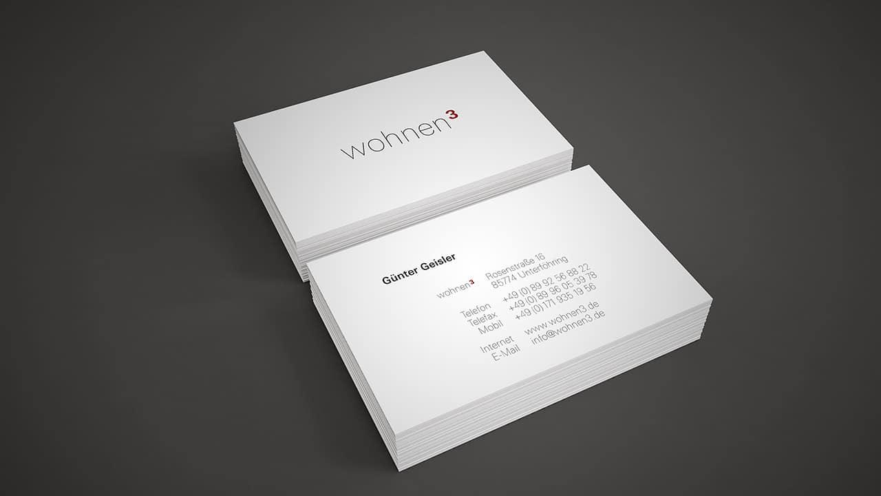 Corporate Design München: Visitenkarten wohnen3