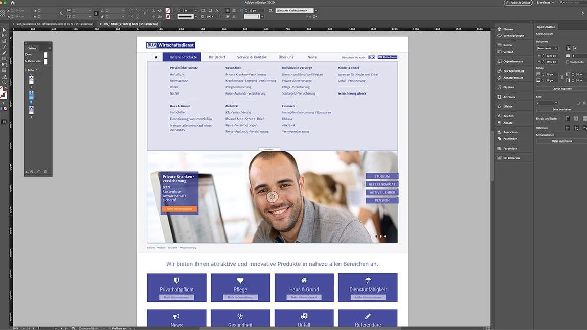 Website Design Layout Desktop Startseite, UX Design für ausgeklappte Navigation