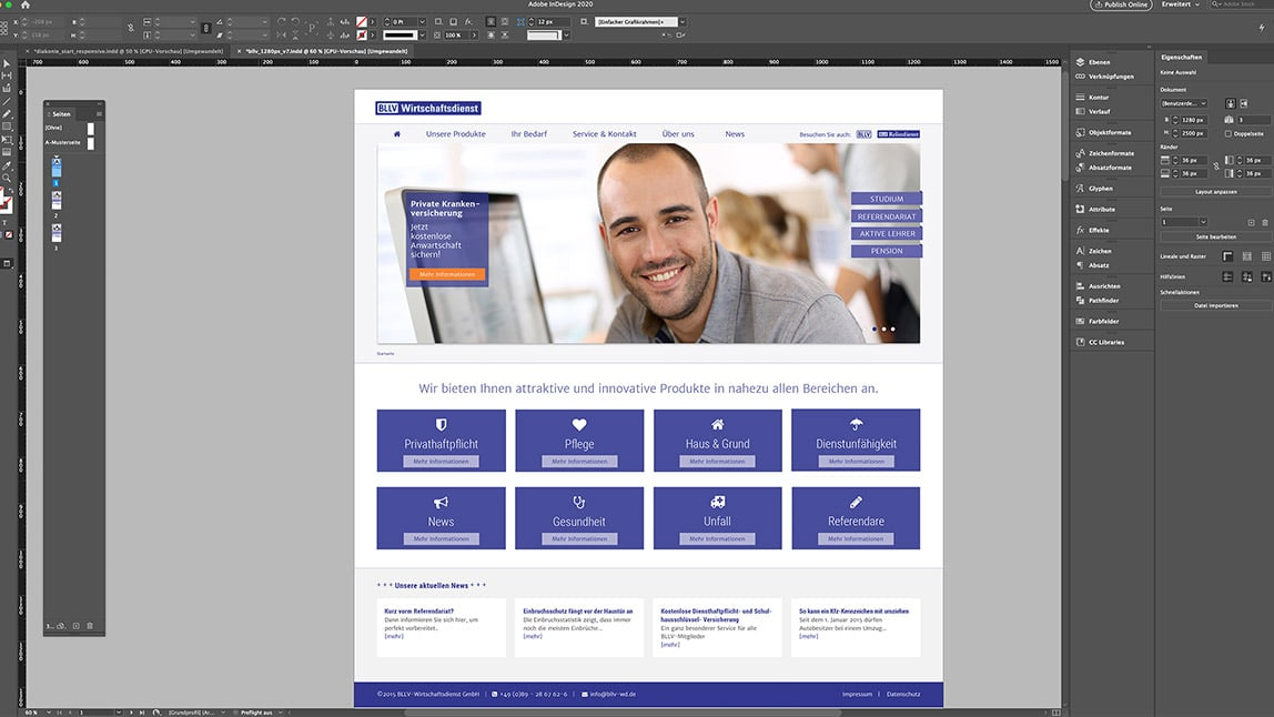 Website Design Layout Desktop Startseite