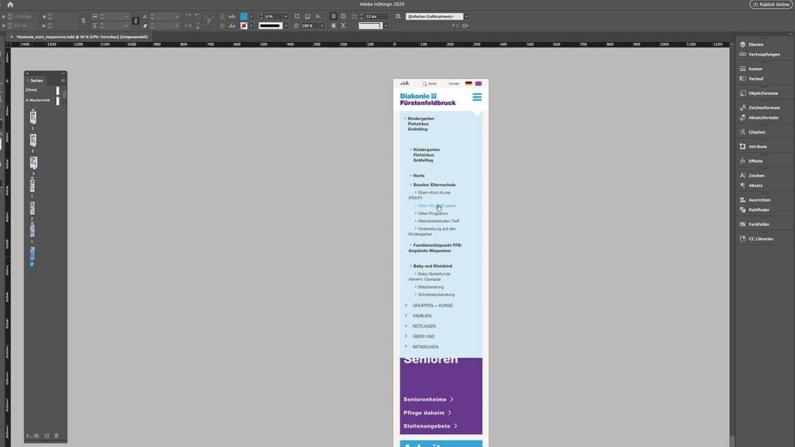 Website Design Layout Handy Startseite Website, ausgeklappte Navigation