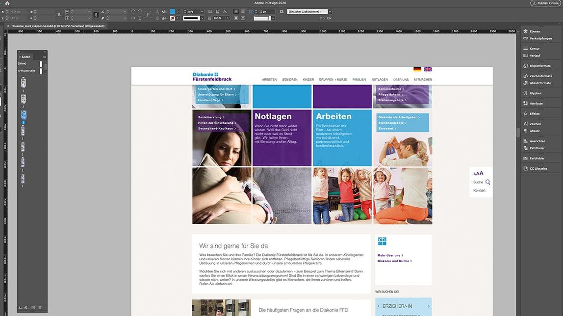 Website Design Layout Desktop Startseite, fixed Header