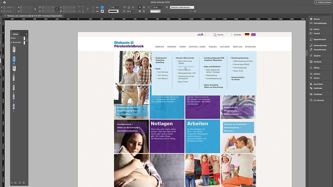 Website Design Layout Desktop Startseite, Ansicht ausgeklappte Navigation