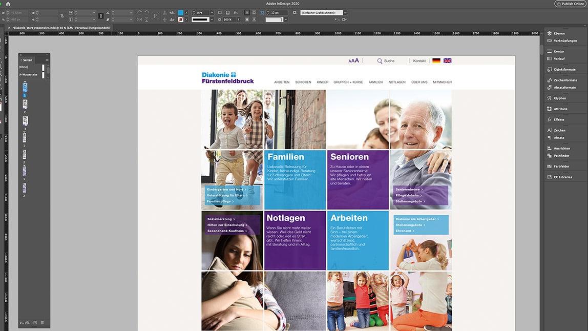 Layout Desktop Startseite Website