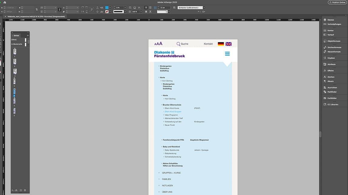 Website Design Layout Tablet Startseite Website, ausgeklappte Navigation