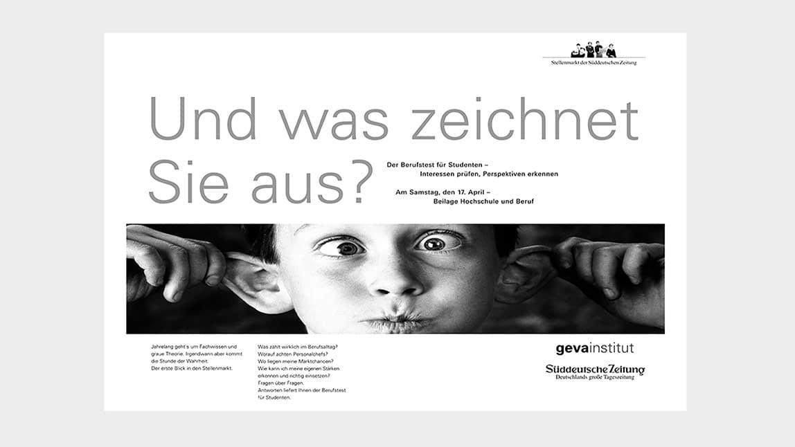 Printdesign Anzeige Süddeutsche Zeitung München