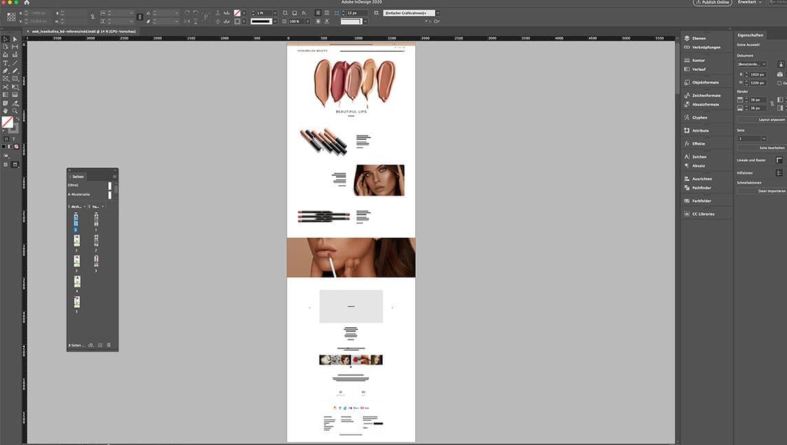 Webshop Design Layout Desktop Startseite